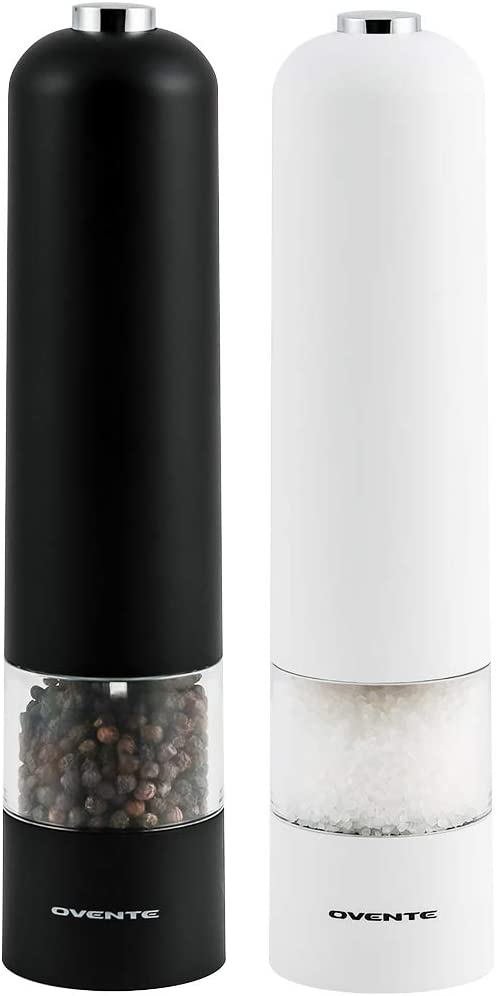 Ovente Electric Sea Salt & Pepper Grinder Set with Automatic One Hand Operation, Battery Operated Salt & Pepper Mill Adjustable Coarseness, Perfect Shaker for Food, Pack of 2 Black and White SPD102BW