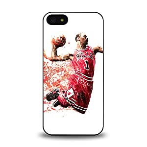 iPhone 5 5S case protective back cover with NBA Chicago Bull No. 1 Derrick Rose 5