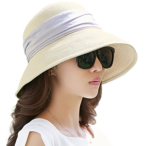 Siggi Womens Foldable Straw Cloche Panama Floppy Summer Beach Sun Hat Wide Brim Beige