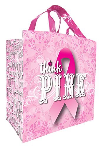 Earthwise Reusable Grocery Bag Shopping Tote Breast Cancer Awareness Think Pink ( 4 Pack )