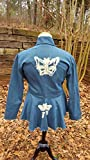 DevitaDesigns Womens Jacket 100% Cotton Denim Blue Jean Extra Large XL Peplum Blazer Distressed Butterfly