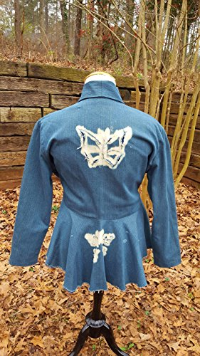 DevitaDesigns Womens Jacket 100% Cotton Denim Blue Jean Extra Large XL Peplum Blazer Distressed Butterfly by DevitaDesigns
