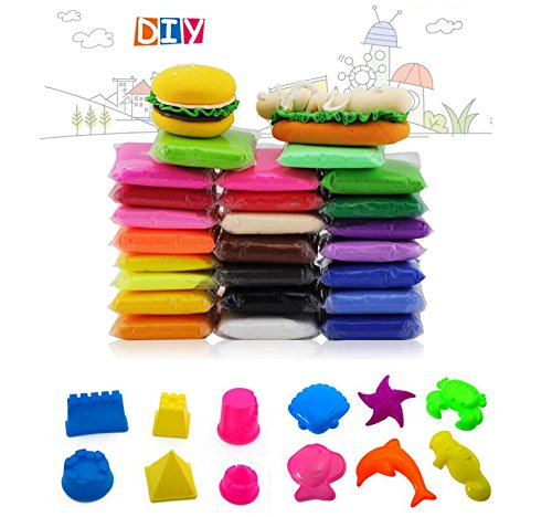 24PCS Fireboomoon Colorful Kids Modeling Clay Air Dry Clay Studio Toy 24 Bright ColorNo-Toxic Modeling Clay, Creative DIY Crafts, And Clay Molds 6PCS mini castles And sea animals.