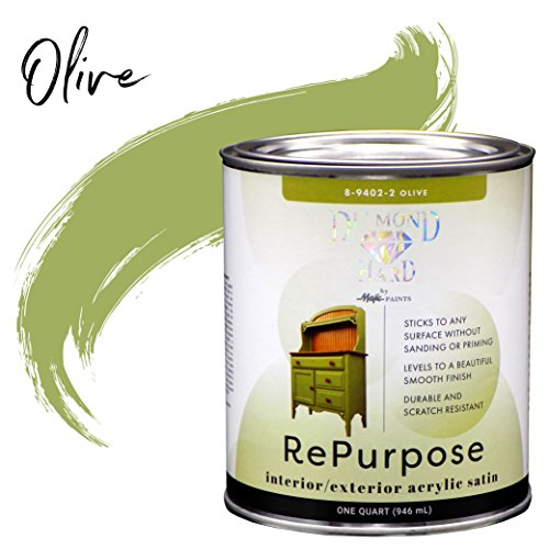 (Majic Paints 8-9402-2 Diamond Hard Interior/Exterior Satin Paint RePurpose your Furniture, Cabinets, Glass, Metal, Tile, Wood and More and More, 1-Quart, Olive Green )
