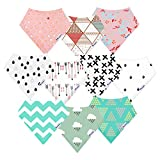 Image of 10-Pack Bandana Bibs Upsimples Baby Drool Bibs for Drooling and Teething, Organic Cotton, Super Absorbent, 10 Stylish Design for Baby Girls Toddler, Baby Shower Gift Set