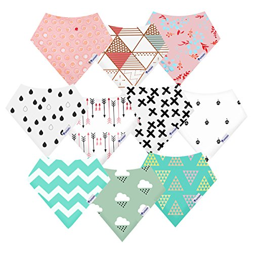 10-Pack Bandana Bibs Upsimples Baby Drool Bibs for Drooling and Teething, Organic Cotton, Super Absorbent, 10 Stylish Design for Baby Girls Toddler, Baby Shower Gift Set
