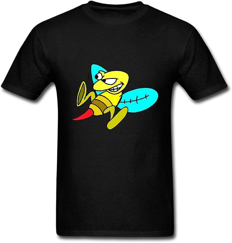 Heerinsy Men's Cartoon Honey Bees Yellow Design Color Short Sleeve T-Shirt S