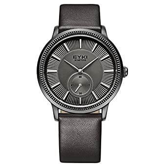 fdc25ead59a Buy EYKI OVERFLY Luxury Brand Genuine Leather Strap Stop Watch Men s Quartz  Watch Casual Watch Men Wristwatch relogio masculino Online at Low Prices in  ...