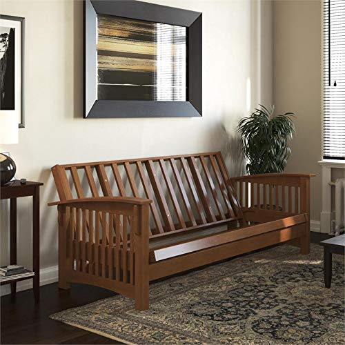 DHP Callie Wood Futon Frame in Natural Oak by DHP