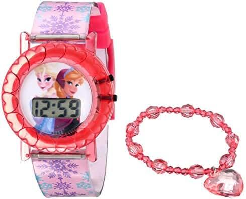 Disney Kids' FNF004T Frozen Digital Pink Watch with Bracelet Gift Set