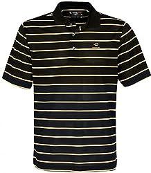 NCAA Missouri Tigers Men's Links Tech Pebble Texture Classic Stripe Short Sleeve Polo Shirt, Medium, Black/Vegas Gold