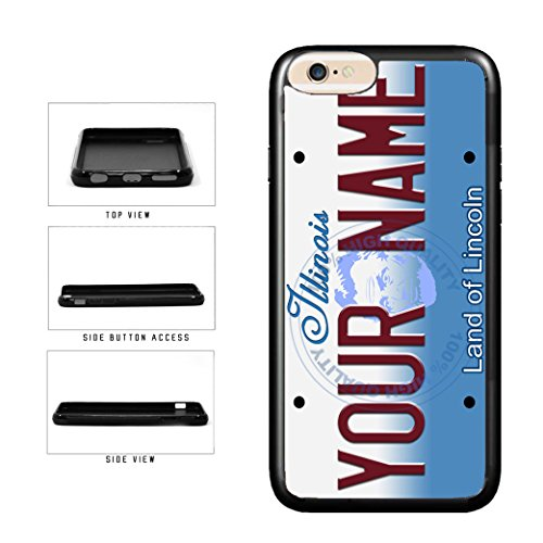 BleuReign(TM) Personalized Custom Name Illinois State License Plate TPU Rubber Silicone Phone Case Back Cover for Apple iPhone 8 Plus and iPhone 7 Plus