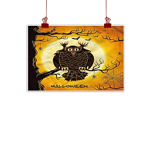 (Mangooly Wall Art Print Home Decor Halloween,Owl on Tree Spider Web 24