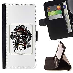 Momo Phone Case / Flip Funda de Cuero Case Cover - Cartel indio Cráneo nativo americano - Samsung Galaxy A5 ( A5000 ) 2014 Version