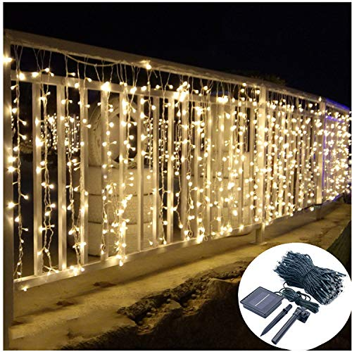 Solar Curtain Lights Outdoor,13ft(L) x 3.3ft(H),8 Mode,200 LED,Solar String Lights for Pool Glass Fence Handrail Railing Eaves Wall Pavilion Wedding Arch Decoration-Waterproof,Dark Green -Warm White -