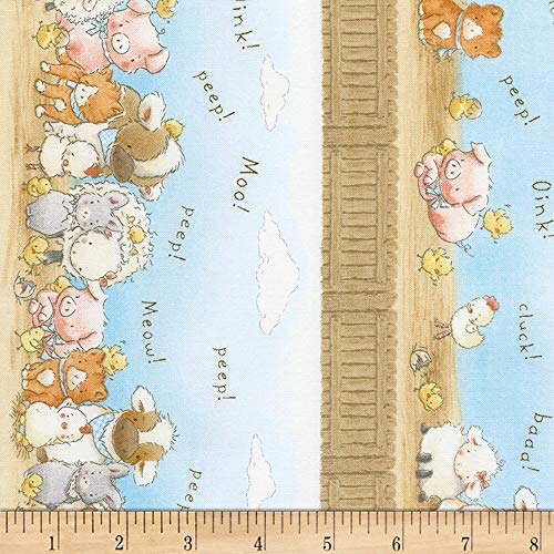 Timeless Treasures 0561318 Flannel Cotton Tale 11in Farm Stripe Sky Fabric by The Yard