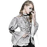 Devil Fashion Punk Ruffles Lace Shirt Steampunk Gothic Women Blouses Double Layer Hem Retro Shirt (L, Gray)