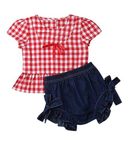 3PC Baby Girl Feather Vest Tops+Golden Dots Tassels Short Pants+Bowknot Headband (6-12 Months, Red&Blue)