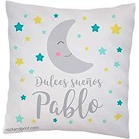 Cojín decoración dulces sueños luna. 40x40 cm, incluye relleno. Elige el color. Regalo nacimiento, recién nacido, bebe…