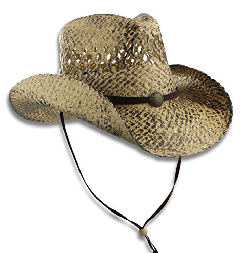 Toyo Straw Outback Western Hat, Faux Leather Chin Cord & Concho, Burnt Finish, Small/Medium - Straw Toyo Western Hat