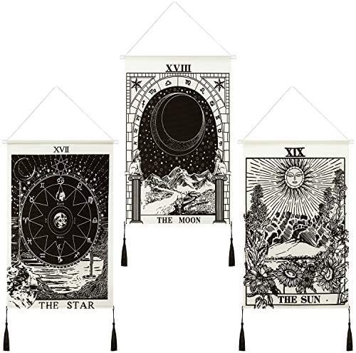 3 Pieces Tarot Tapestry Moon Star and Sun Tapestry Sunrise Tapestry Astronomical Theme Tapestry Mountain Tapestry Black and White Art Tapestry Wall Hanging Decoration for Home Room Wall Supplies
