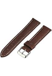 Voguestrap TX77720BN Allstrap 20mm Brown Regular-Length Genuine-Leather Contrast-Stitch Watch Band