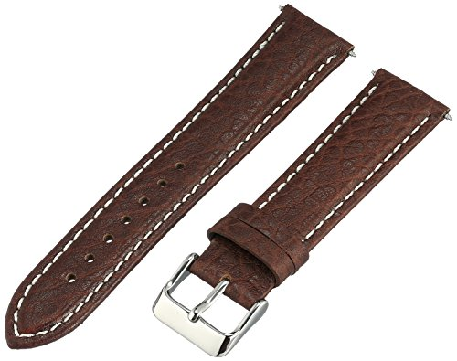 Voguestrap TX77720BN Allstrap 20mm Brown Regular-Length Genuine-Leather Contrast-Stitch Watch Band