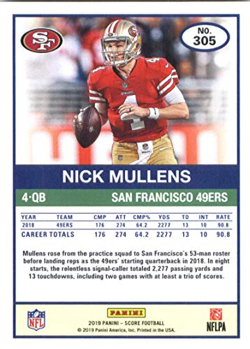 869f35c91 Amazon.com  2019 Score Football  305 Nick Mullens San Francisco 49ers  Official NFL Trading Card made by Panini  Collectibles   Fine Art