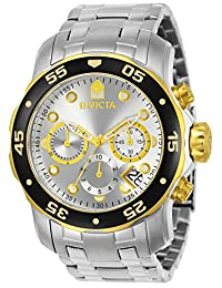 Invicta Men's 80040 Pro Diver Analog Display Swiss Quartz Silver Watch