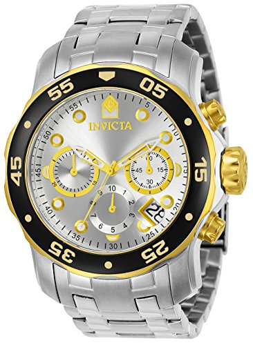 Sapphire Diver Chronograph - Invicta Men's 80040 Pro Diver Stainless Steel Watch with Link Bracelet