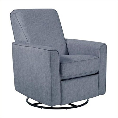 Pemberly Row Fabric Swivel Glider Recliner in Carlton Dove by Pemberly Row
