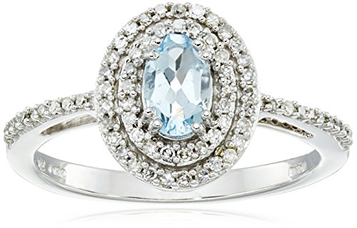 10k White Gold Oval Aquamarine and Diamond Ring (1/5cttw, I-J Color, I2-I3 Clarity), Size 8