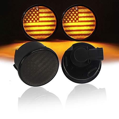 (u-Box Smoked Turn Signal Front Lights Amber LED Indicator Blinker for Jeep Wrangler JK 2007-2018 - US Flag)