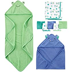 Simple Joys by Carter's Baby Boys' 8-Piece Towel and Washcloth Set, Blue/Green, One Size