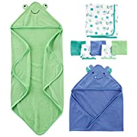 Simple Joys by Carter's Baby Boys' 8-Piece Towel and Washcloth Set, Blue/Gree...