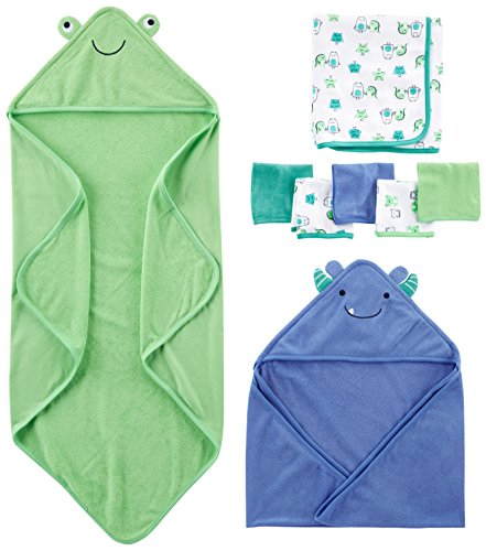 Simple Joys by Carter's Baby Boys' 8-Piece Towel and Washcloth Set, Blue/Green, One Size 1 Piece Hood