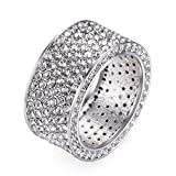 Ztuo Vintage Style Cubic Zirconia Ring Wide Eternity Ring Statement 18k White Gold Plated Jewelry Size 7