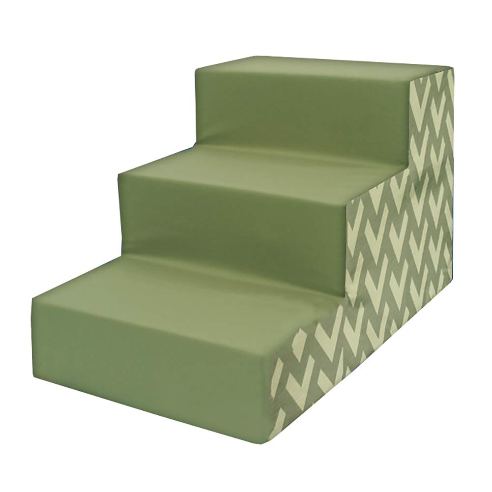 Dog Stair Cat Climbs Stairs, Pet Sponge Steps Climbs The Ladder, Small Dog Mat, Removable and Washable 40x60x40cm, Green