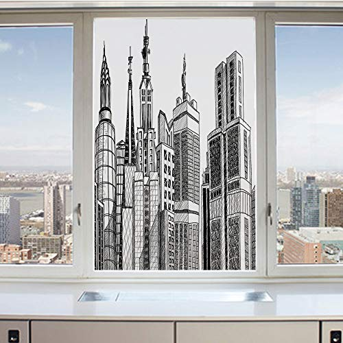 3D Decorative Privacy Window Films,Urban Arhitecture Sketch Skyscraper Metropolis Grunge Handdrawn Modern Scenery,No-Glue Self Static Cling Glass Film for Home Bedroom Bathroom Kitchen Office 17.5x36