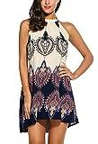 BLUETIME Women's Sleeveless Halter Bohemian Vintage Style Short Dress Sundress (XXL, Dark Blue)