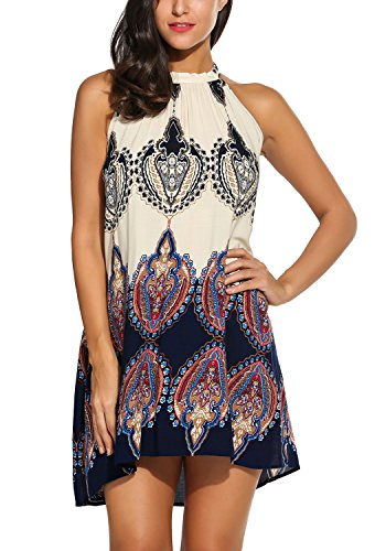 BLUETIME Women's Casual Loose Halter Neck Printed Short Shift Dress Sundress (XL, Dark Blue) (Sleeveless Shift Dress Halter)