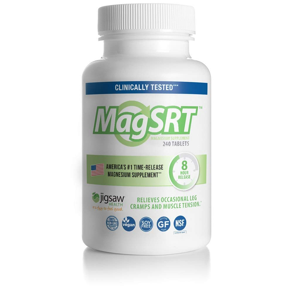 MagSRT - Jigsaw Health - Premium, Organic, Slow Release Magnesium Supplement - Active, Bioavailable Magnesium Malate Tablets with B-Vitamin Co-Factors, 240 Tablets (1) by Jigsaw Health