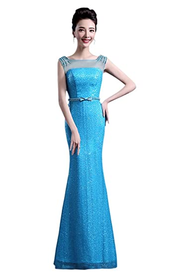 3bba0d1f6651c Drasawee Womens'Mermaid Sequins Bridal Evening Dress Sexy Long Prom Party  Formal Gowns Blue UK4