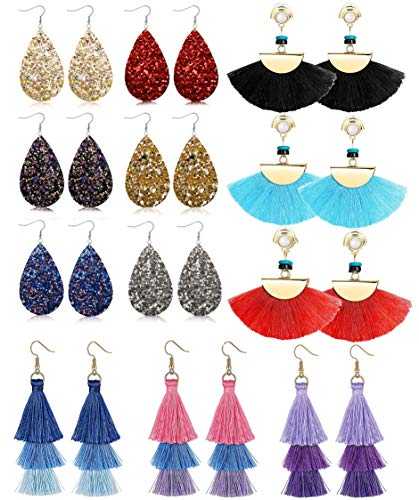 LOLIAS 12 Pairs Dangle Earring Tassel Thread Earrings Leather Teardrop Drop Earring Set for Women Girls Statement Fashion Jewelry ()