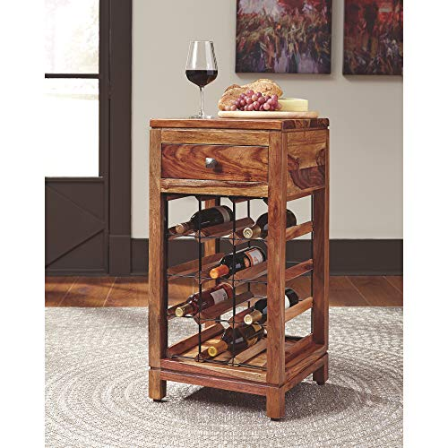 Ashley Furniture Signature Design - Abbonto Wine Cabinet - Casual - Warm Brown Finish by Signature Design by Ashley (Image #1)