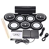 Electronic Drum Kit Kids Drum Set Portable Practice Roll Up Drum Pad Kits Foldable Entertainment Musical Instruments with Built in Speaker Foot Pedals Drum Sticks for Beginners Children Drum Learning