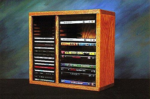 Wood Shed Solid Oak desktop or shelf for CD's and DVD's (Individual Locking Slots) Honey Oak