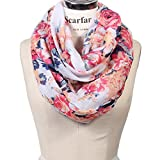 Scarfand's Romantic Rose Print Lightweight Infinity Scarf (Bouquet Rose Ivory)