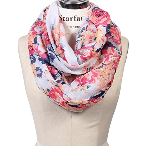 Rose Print Lightweight Infinity Scarf (Bouquet Rose Ivory) (Infiniti Scarf)