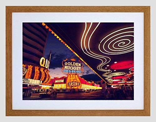 CITYSCAPE LAS VEGAS NEON NEVADA CASINO BLACK FRAMED ART PRINT PICTURE B12X4759 (Neon-rahmen)
